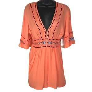 Altar'd State Coral Floral Embroidered Romper NWT